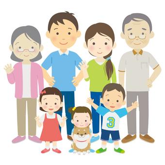 全身の三世代家族