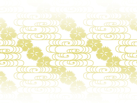 Nukiki flower and geometric curve pattern white on white background yellow
