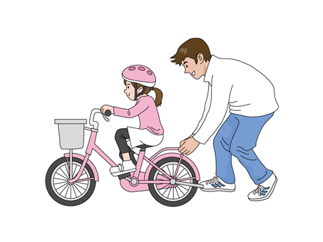 Daughter and Dad who practice bicycles