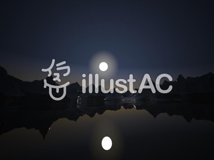 幻想的なファンタジーな景観(眩い月光)のイラスト