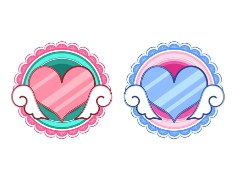 Feather heart emblem