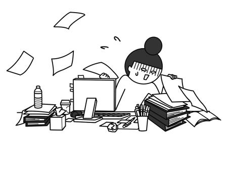 Cluttered Desk B & W