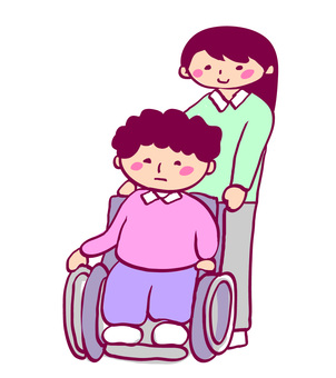 Nursing care illustration Women's wheelchair and caregiver