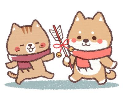 참배 개 고양이