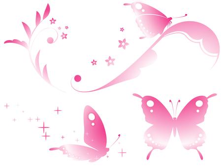 蝶と蔓草のセット(ピンク)
