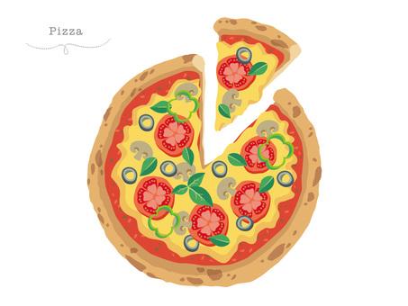 절단 된 피자