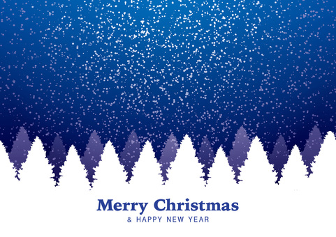 크리스마스 카드 (겨울 하늘 / 나무)