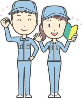 Male and female set worker -021-whole body