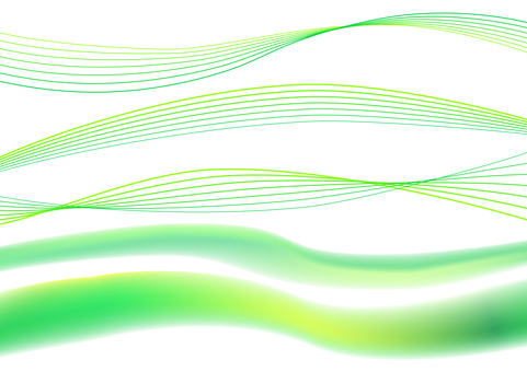 Green abstract wavy line background material set