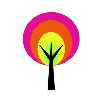 Scandinavian tree (rainbow color, circle)