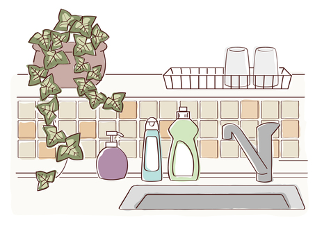 Kitchen with plants and detergents