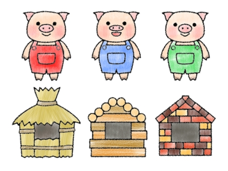 Three little piglets 3 (hand-drawn style)