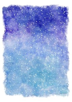 Snow sky in winter · Watercolor painting in the starry sky · Vertical