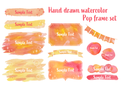 Vitamin color watercolor frame set