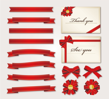 Red ribbon card illustration set