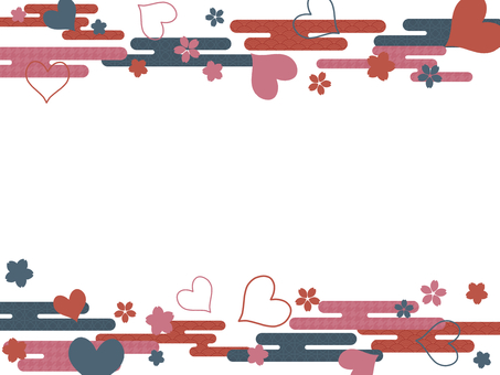 Japanese Style Cherry Blossoms and Hearts
