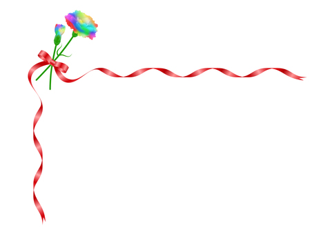 Rainbow Carnation and Red Ribbon