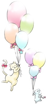 Cat, mouse and balloon