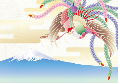 Phoenix _ Japanese paper background _ Mount Fuji