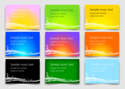 Colorful wave note background material set