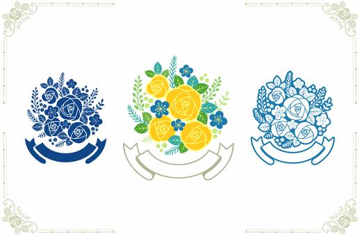 장미 꽃다발과 테두리 2