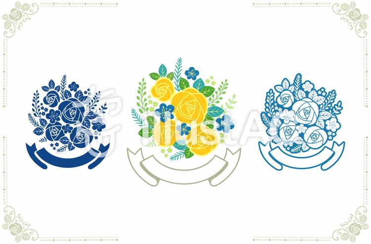 バラの花束と枠2のイラスト