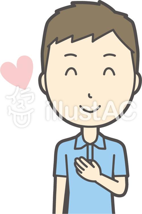 青ポロシャツ男性-191-バストのイラスト