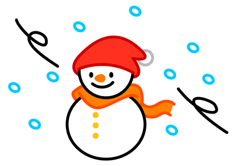 Snowstorm and snowman