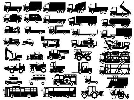 일하는 자동차 (트럭 · 중장비 등) 실루엣