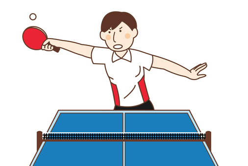 Male player playing table tennis