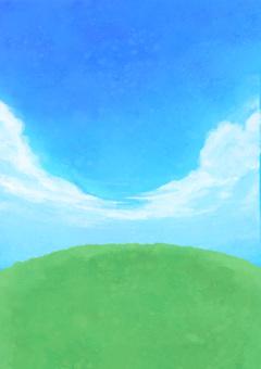 배경 하늘과 산