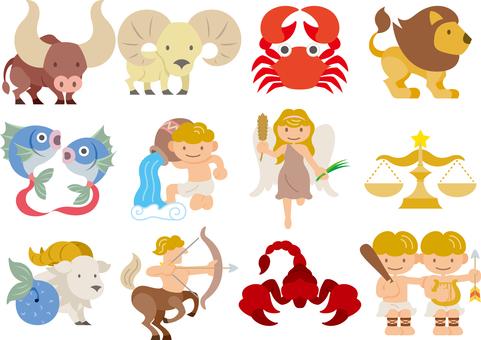 Constellation horoscope icon set color