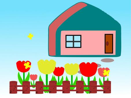 정원에 튤립이 피는 밝은 집