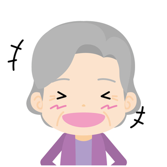 Old woman (burst out laugh) Bust up