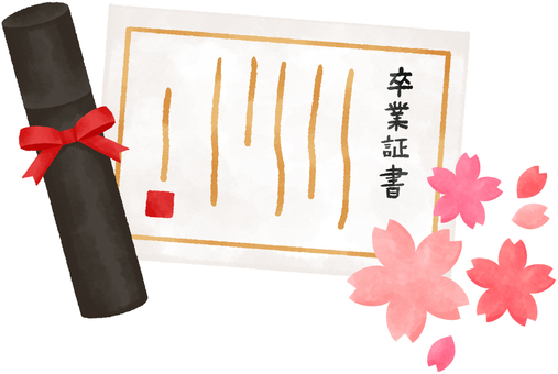 Diploma and cherry blossom