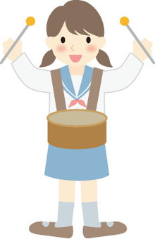 A girl tapping a small drum