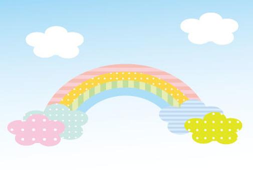 可愛的彩虹和雲