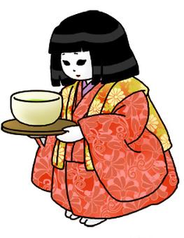 Tea carrying doll (outline black)