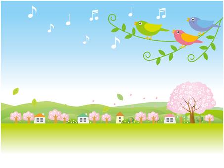 Spring landscape where the little birds sing