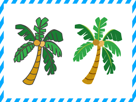 Palm tree illustration set <01>