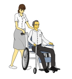 Man in wheelchair and woman pushing wheelchair
