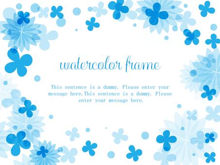 꽃의 수채화 프레임 04 / 파랑 b