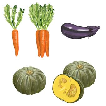Carrot, pumpkin, eggplant