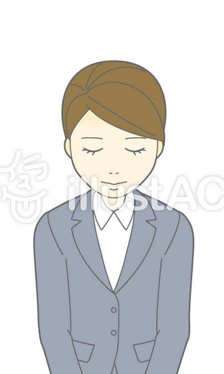 D女性スーツ-おじぎ-バストのイラスト