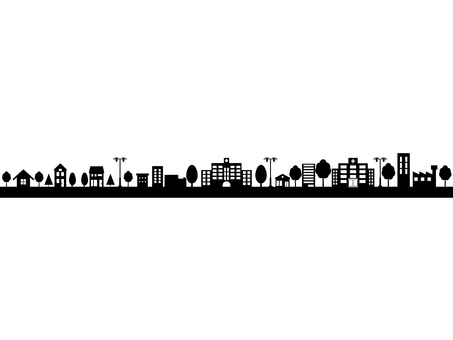 Silhouette line of the city with the school
