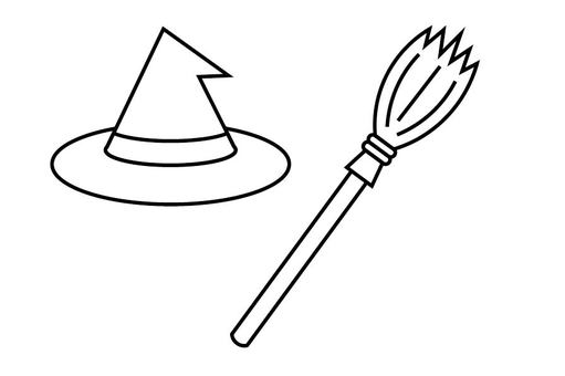 Witch hat and broom