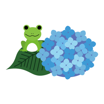 Hydrangea and frog image