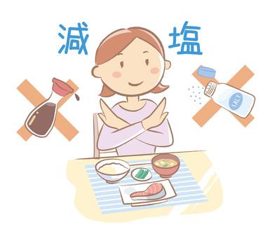 Reduced salt diet health illustration