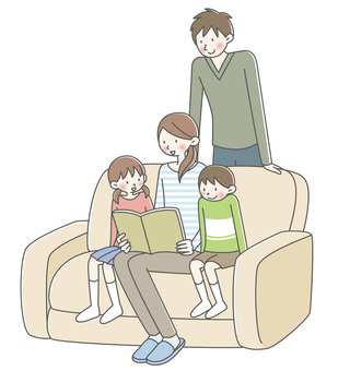 Family relaxing on the couch