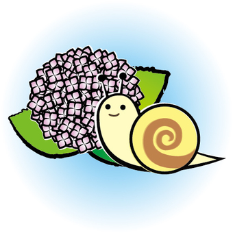 Two snaps of snail and hydrangea